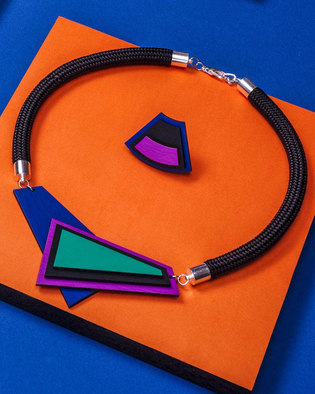 Asymmetric Blue Necklace | Lasercut jewelry | Rename | Made in Belgrade