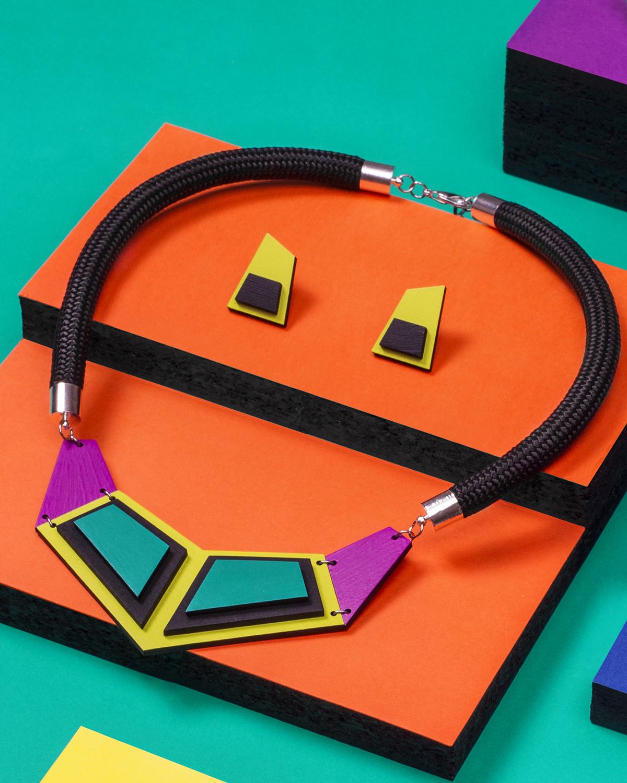 Turquoise Yellow Purple Necklace | Lasercut jewelry | Rename | Made in Belgrade