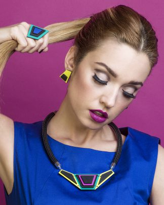 Asymmetric Blue Necklace | Lasercut jewelry | Rename | Made in Belgrade